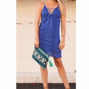 ASTR Blue Crochet Lace Up Dress Small